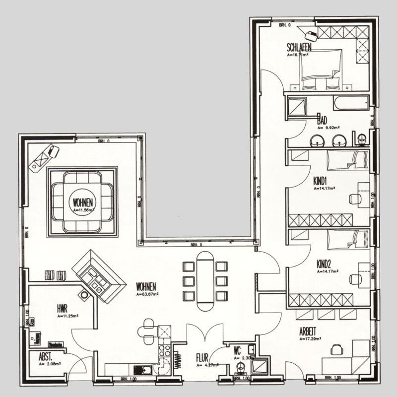 Moderner Winkelbungalow Grundriss ~ Kreatives Haus Design